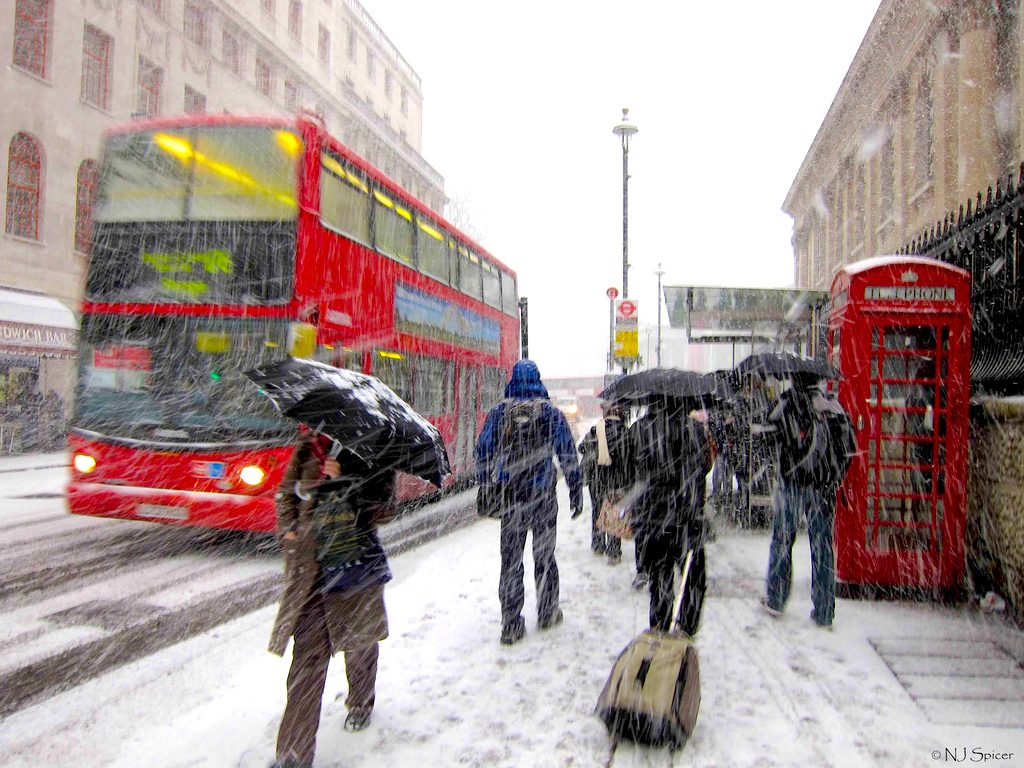 Snow storm in London