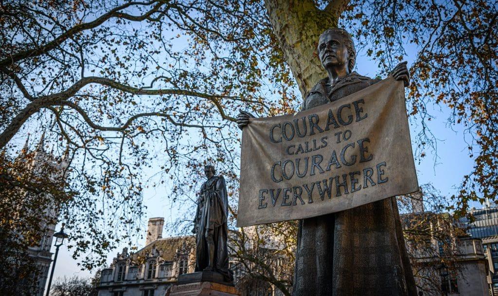 Millicent Fawcett statue overlooking Parliament Square.