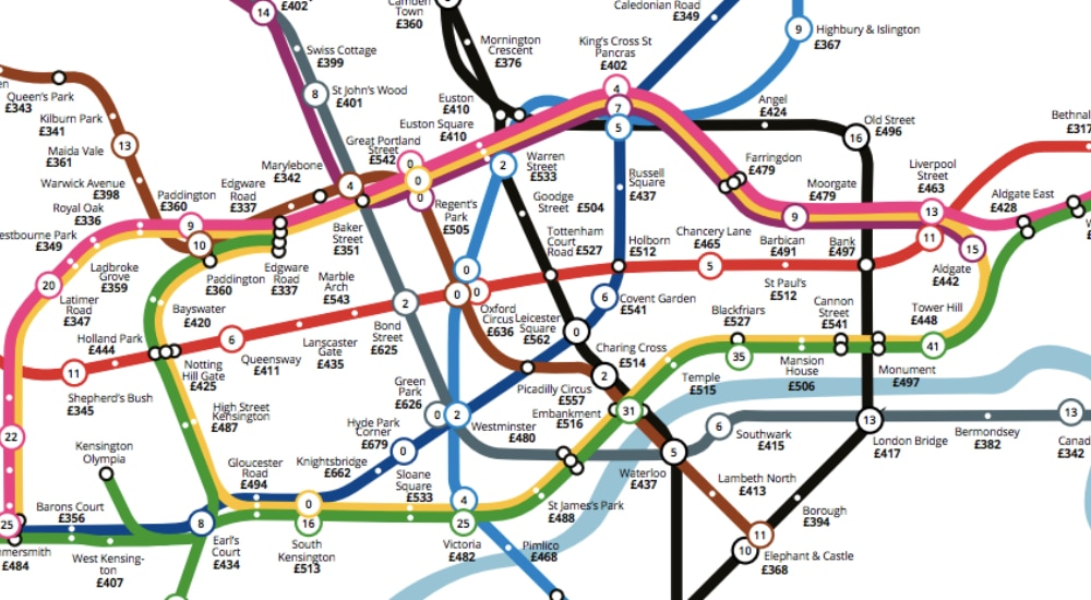 This Tube Map Will Show You How Much You're Paying For Extra Time In Bed