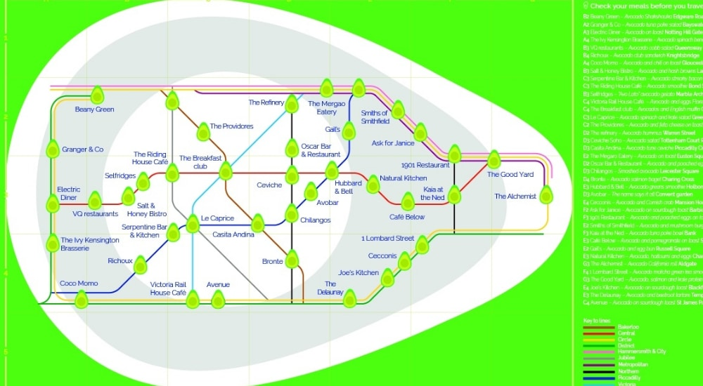 This Tube Map Will Help You Find All Of London's Best Avocado Hotspots