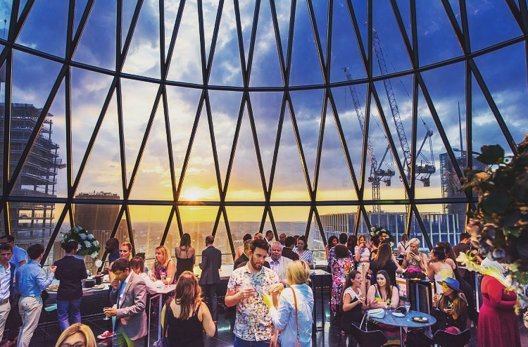 The Panoramic Cocktail Bar At The Top Of The Gherkin • Iris & Helix