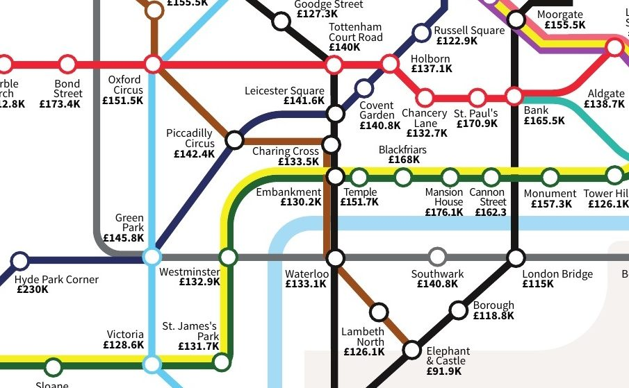 This Depressing Tube Map Shows You What You Need To Earn To Buy A House In London