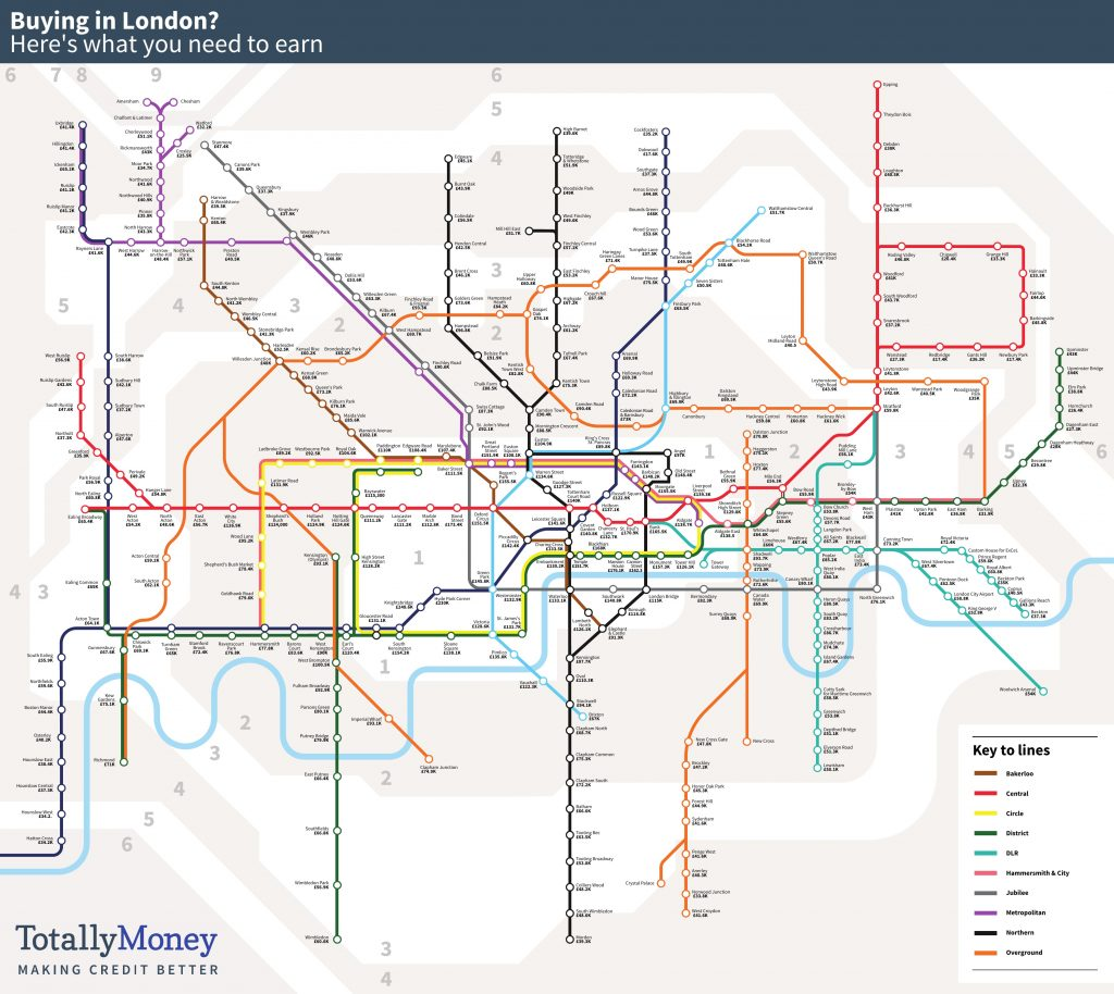 London Underground Subway Map.House Price Tube Map Find How Much Flats At Each Station Cost