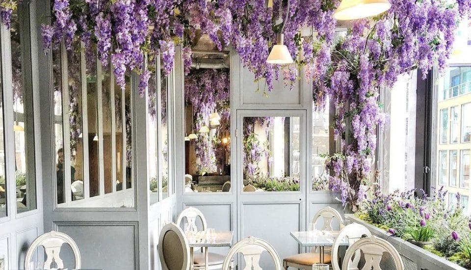 The Stunning Wisteria-Covered Restaurant Inside Selfridges • Aubaine