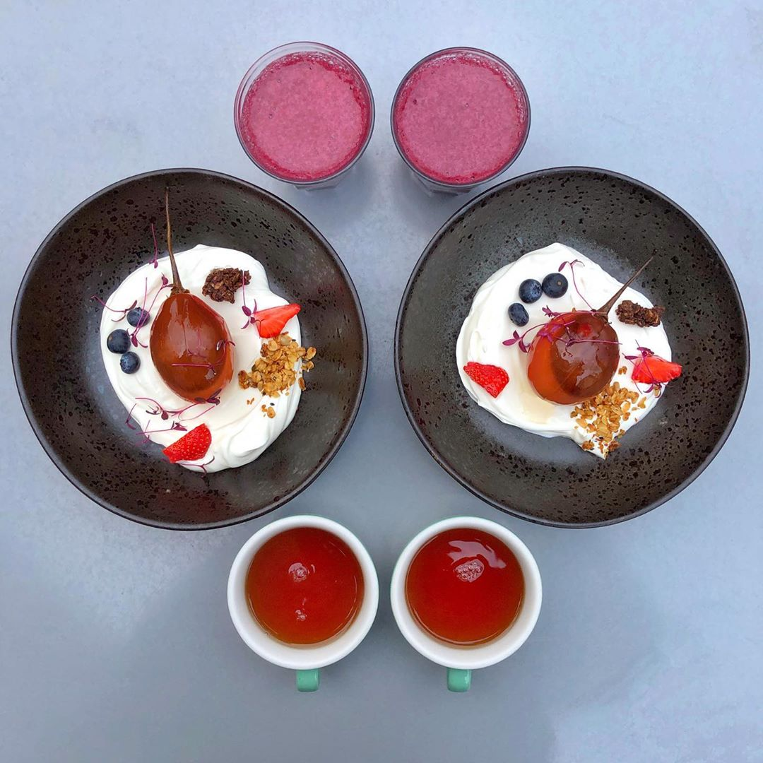 Poached tamarillo, with thick yoghurt and manuka honey from The Modern Pantry ?