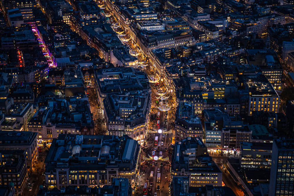 The Christmas lights of Oxford Circus and Regents Street.