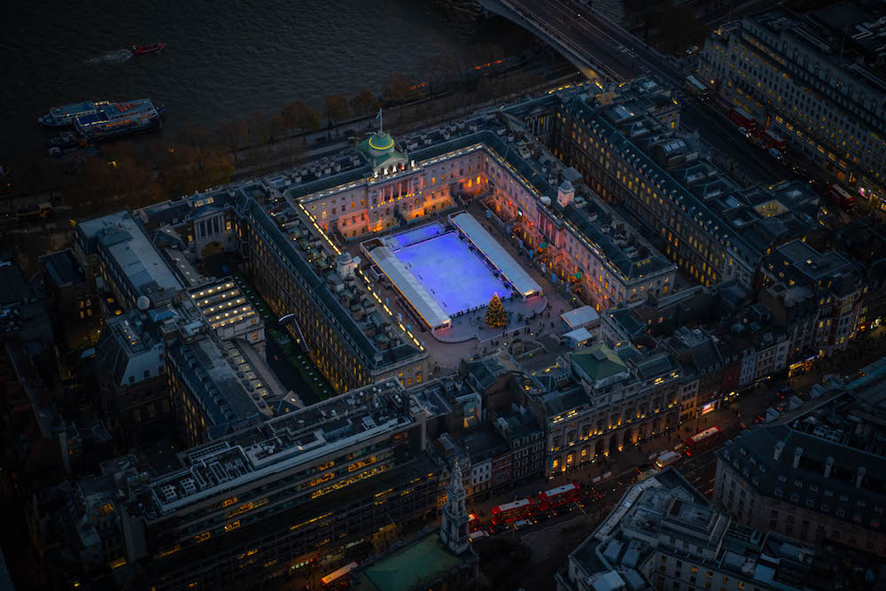 The ice rink at Somerset House on the banks of the River Thames.