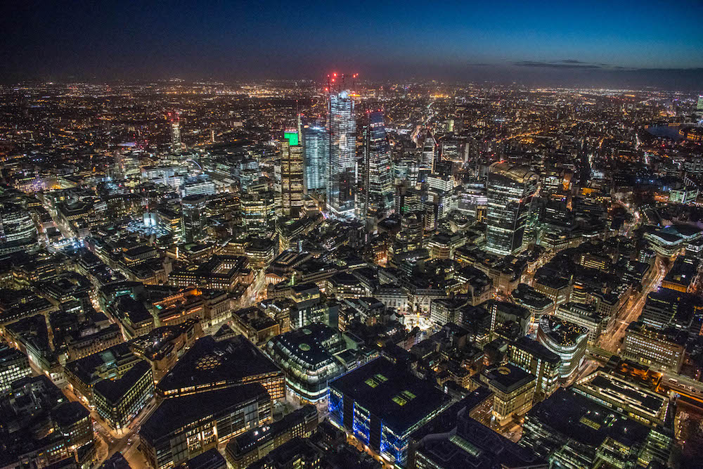 Taken at dawn looking East to Bank and the City of London.