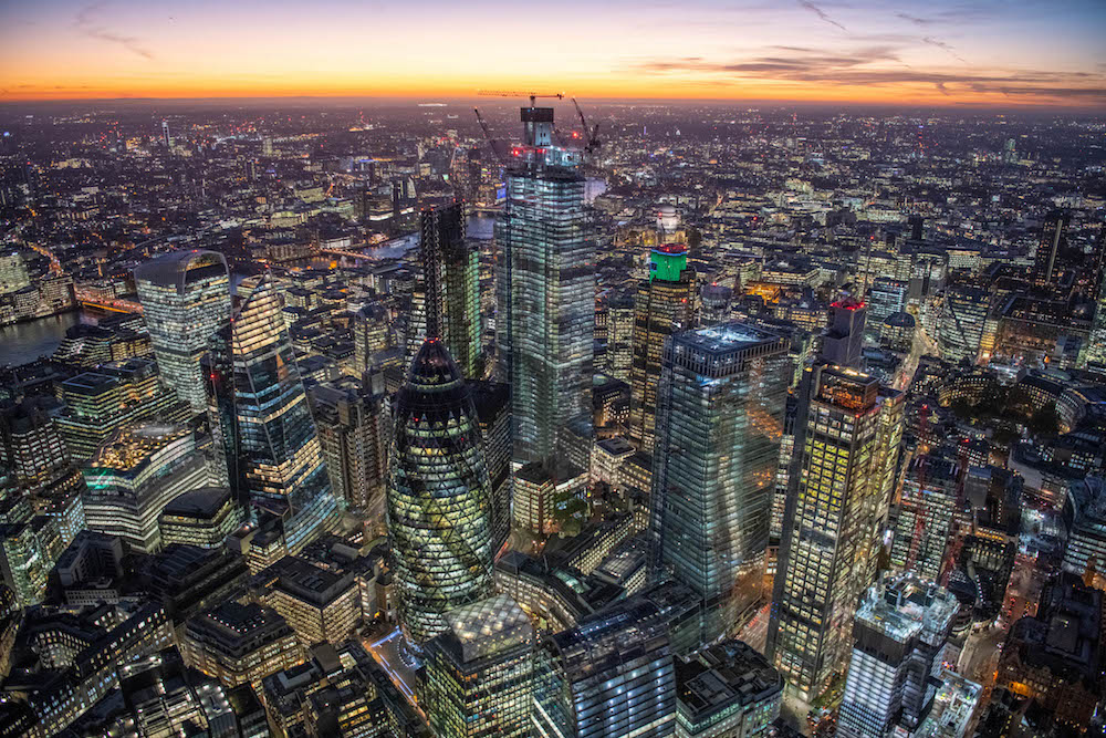 Dusk aerial view showing the new skyscrapers in the City of London. The tallest of which is now 22 Bishopsgate in the centre of the image.