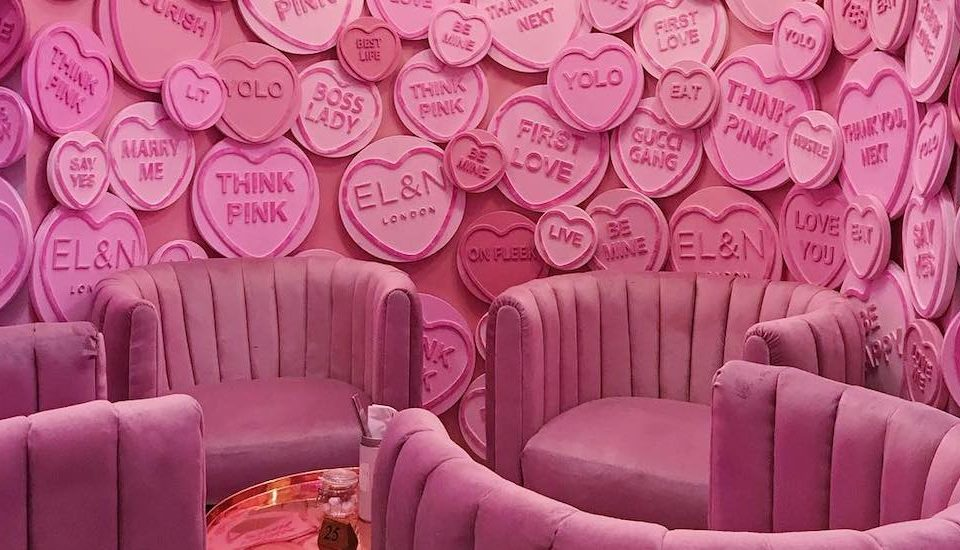 This London Café Has A Pretty Pink 'Love Hearts' Cave And It's SO Extra