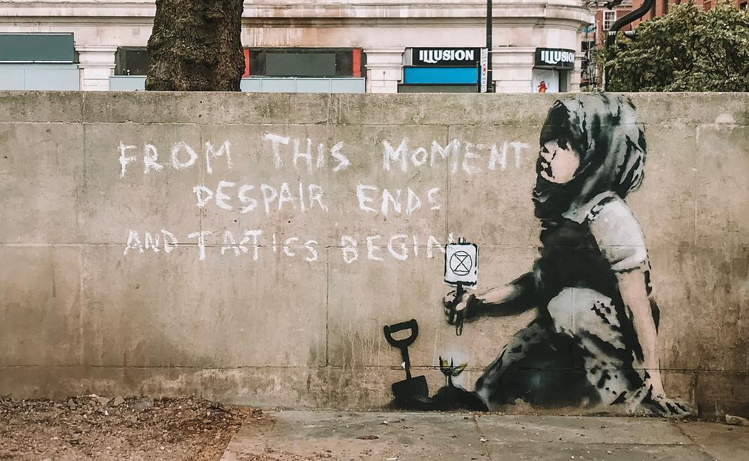 Attributed to Banksy, Grafitti at Marble Arch, London, UK