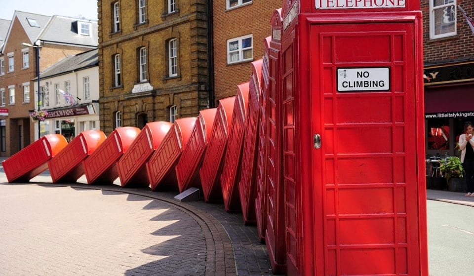 Here's The Story Behind London's Iconic Tumbling Telephone Box Installation • Out Of Order