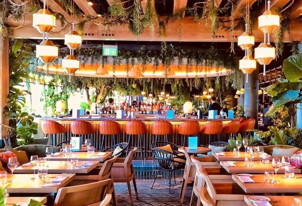 An interior shot of 14 Hills restaurant, with a splendid bar area.