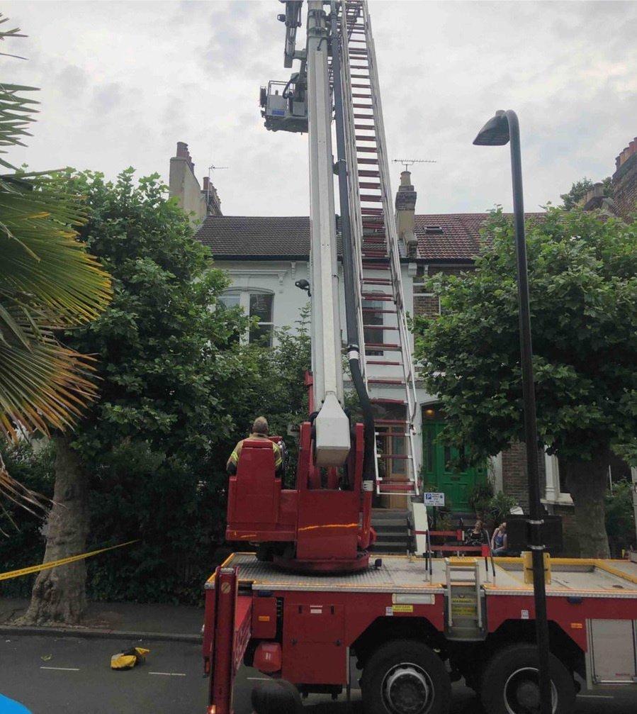Ladder fire engine roof