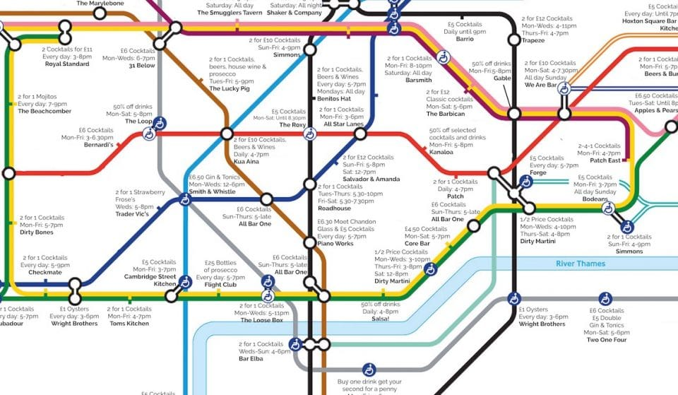 This Handy Map Will Show You The Best Happy Hours Next To Every Tube Station