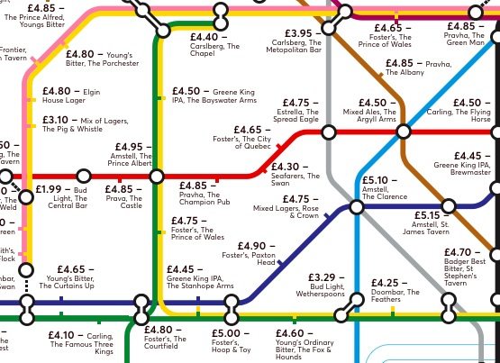This Brilliant Tube Map Will Show You The Cheapest Pint Near Every Station