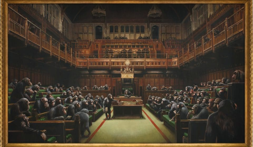 Banksy's Parliament Painting Is On Sale Next Month, And Bidders Aren't Monkeying Around