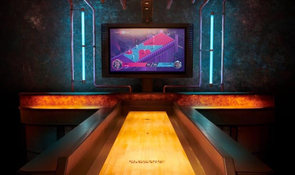 Get Your Gaming Groove On At This Pair Of Hi-Tech Shuffleboard Bars In London • Electric Shuffle