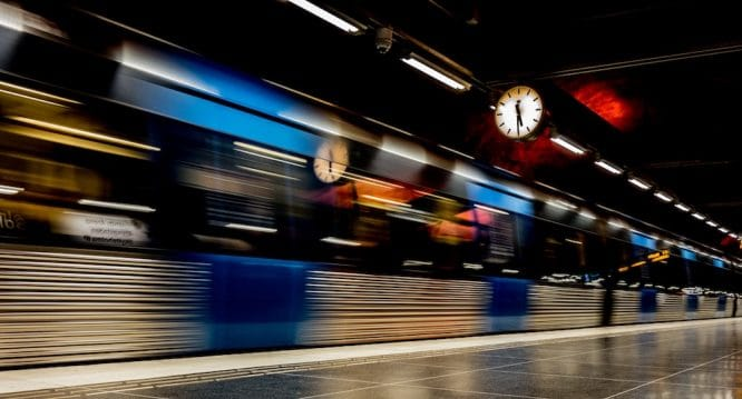 train rushing by