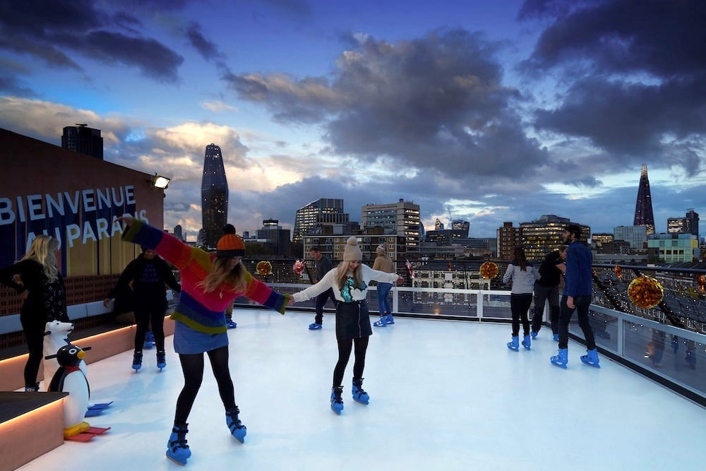 This Twinkling Rooftop Bar In Waterloo Has Its Very Own Ice Rink • Bar Elba
