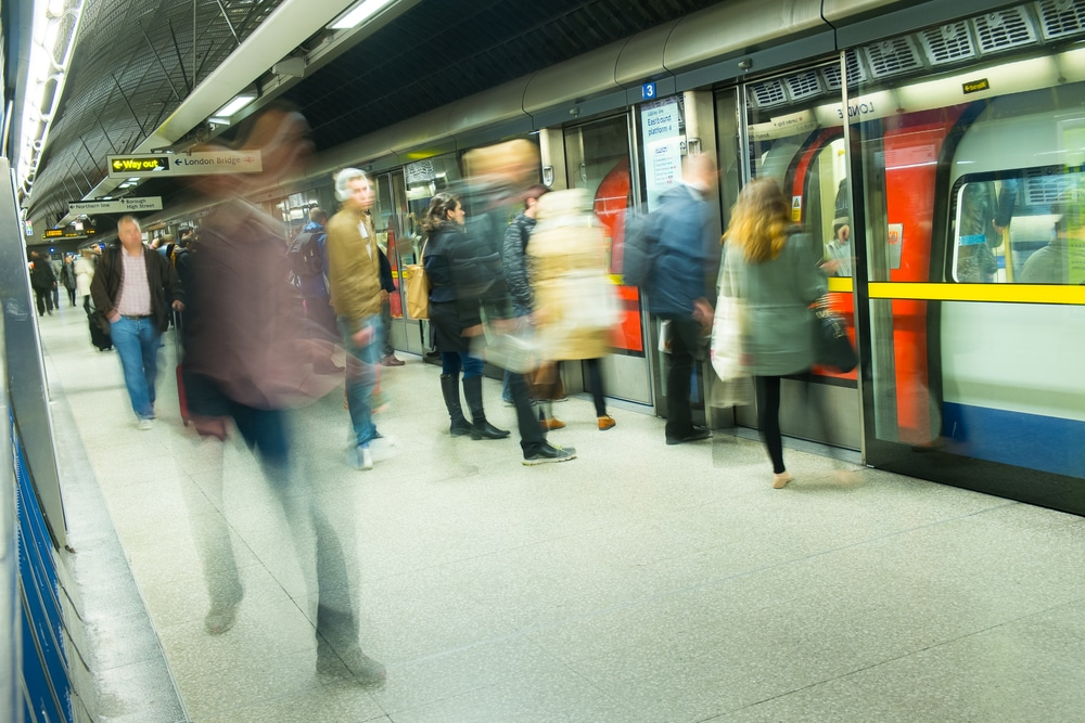 Rush Hour Tubes Are Still Crowded As First Day Of The UK's Lockdown Begins