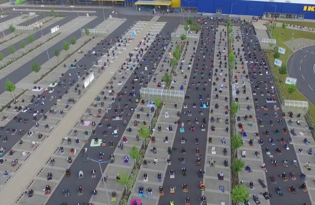 IKEA Car Park Becomes Unlikely Location For A Brilliant Socially-Distant Mass Prayer For Eid