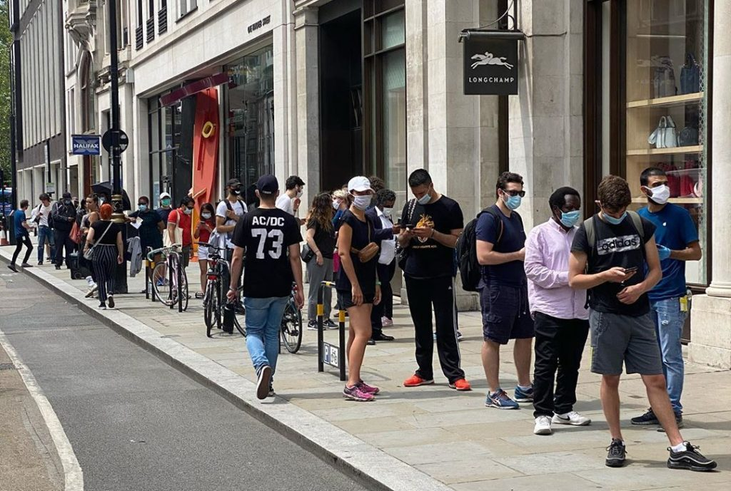Crowds Gather On Oxford Street As Non-Essential Stores Open For The First Time Since Lockdown Began