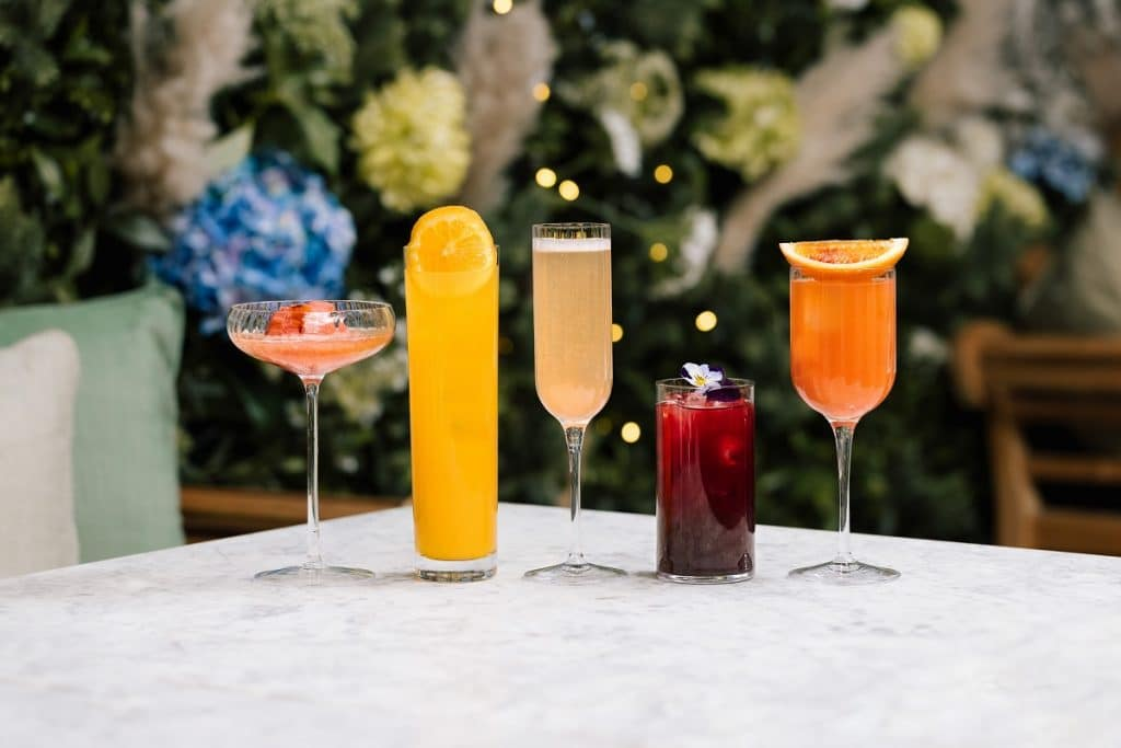 A row of cocktails at Dalloway Terrace