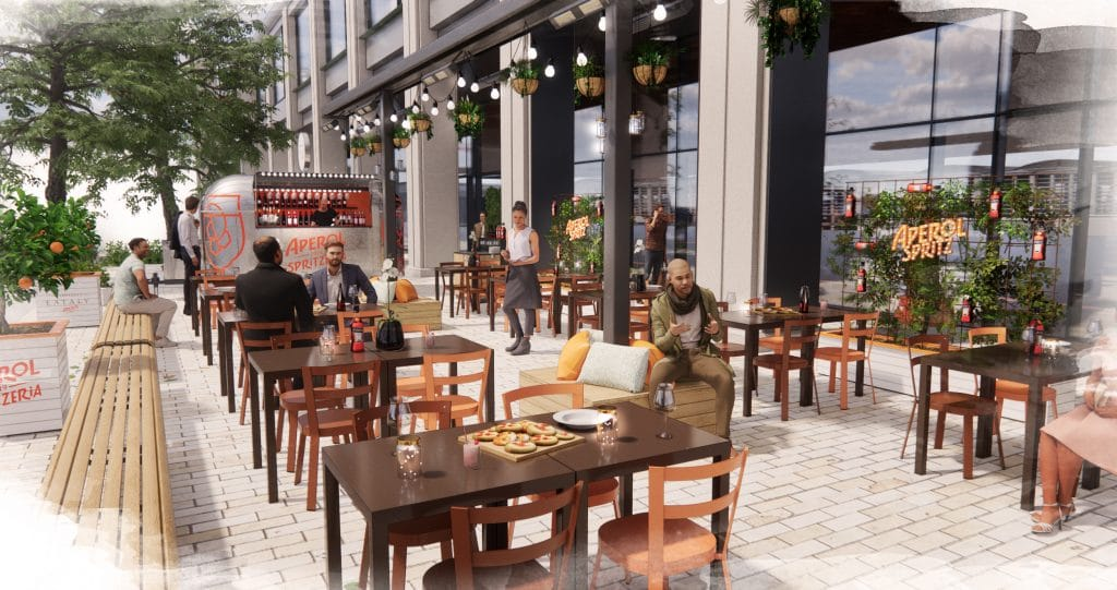 Artist's impressions of indoor dining space at Eataly