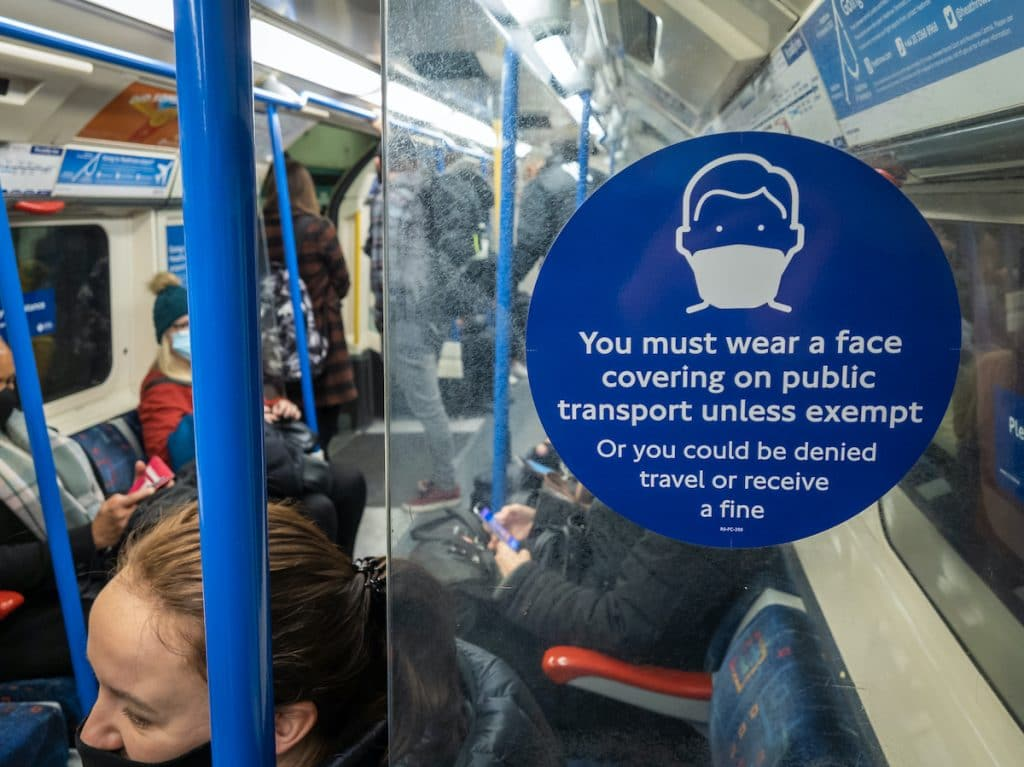 Face masks are currently required on the London underground