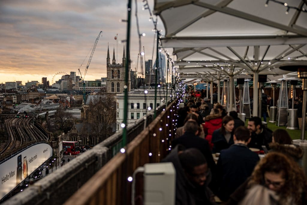 A stunning view of the city skyline from London Bridge Rooftop