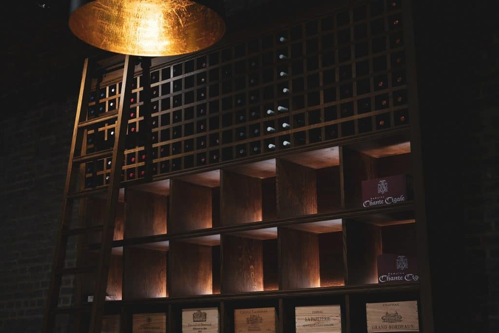 The Farrier and its floor to ceiling wine wall.