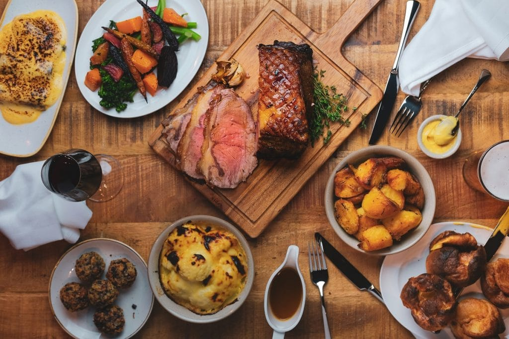 A Sunday roast beef with all the trimmings at The Farrier.