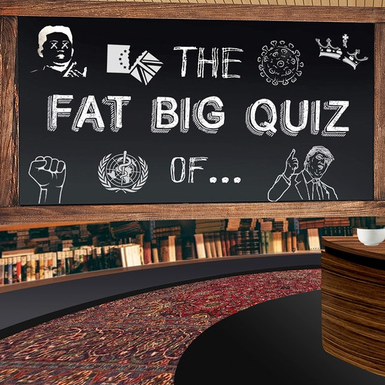 """Sign saying """"The Fat Big Quiz Of..."""""""