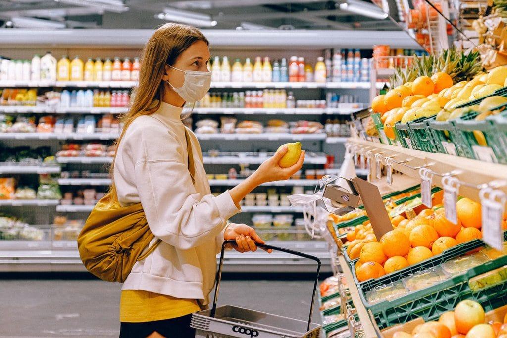 Face masks in supermarkets