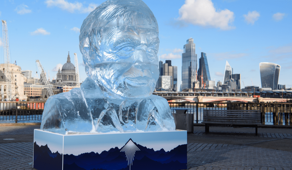 A Giant Ice Sculpture Of Sir David Attenborough Has Arrived On The South Bank