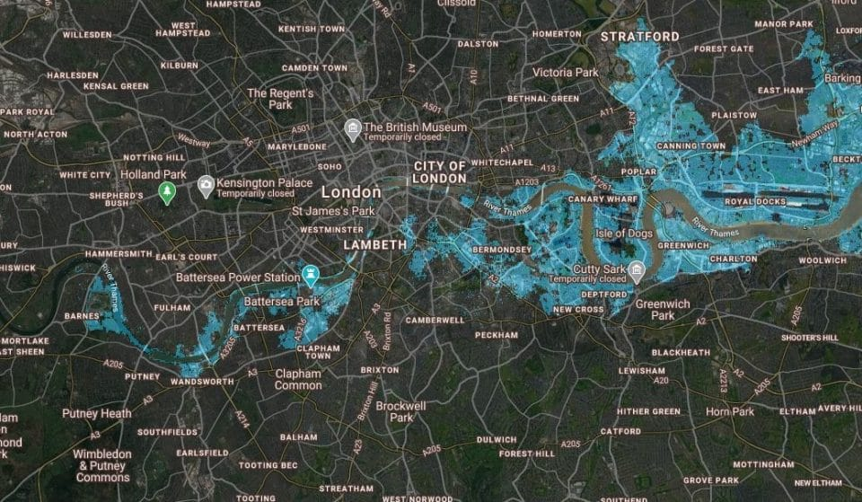 This Concerning Map Shows How Much Of London Could Be Underwater By 2100