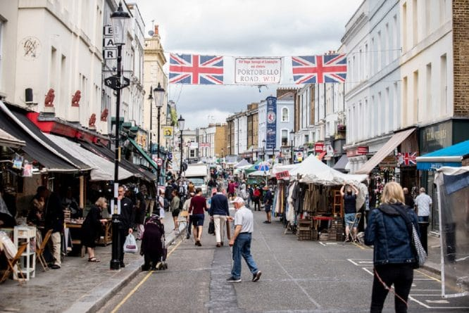 Portobello Road, closed for pedestrians and outdoor dining