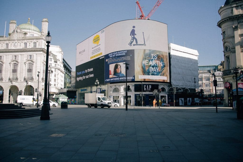 National Day Of Reflection: Empty Leicester Square with billboards thanking essential workers during the pandemic.