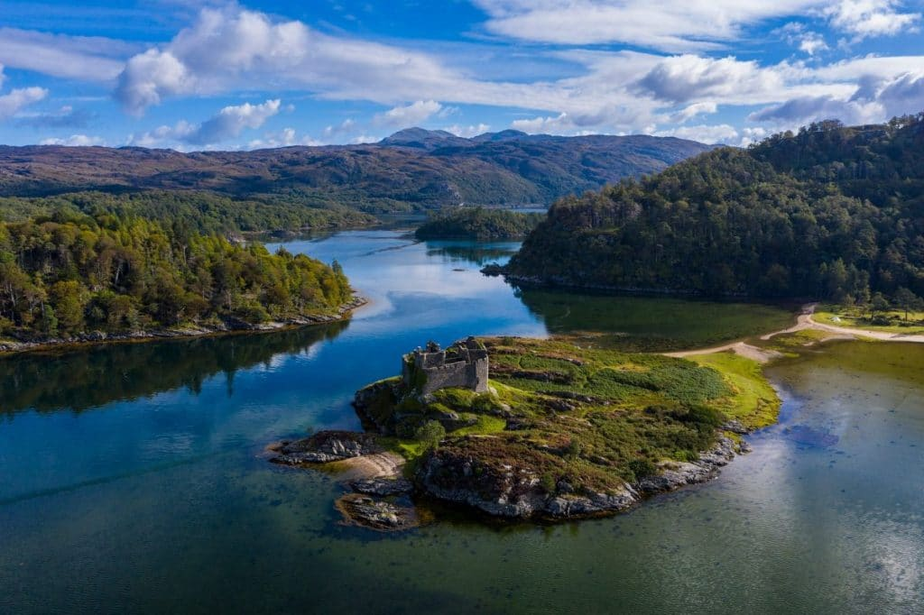 A tranquil and remote Scottish island, surrounded by water.