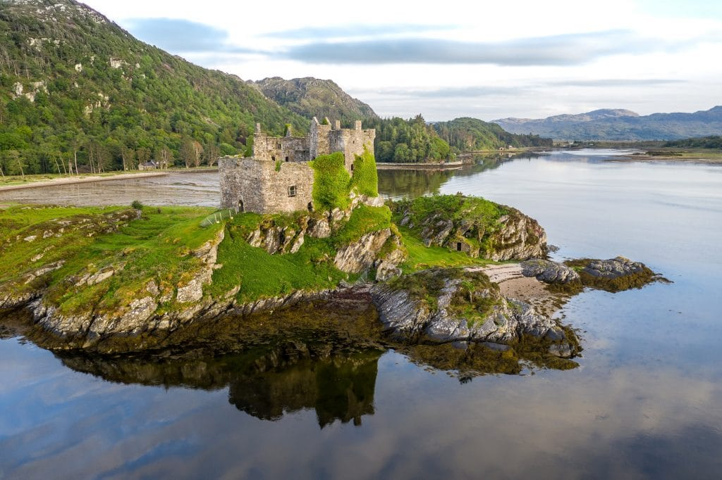 A ruined castle sits up a remote Scottish island.
