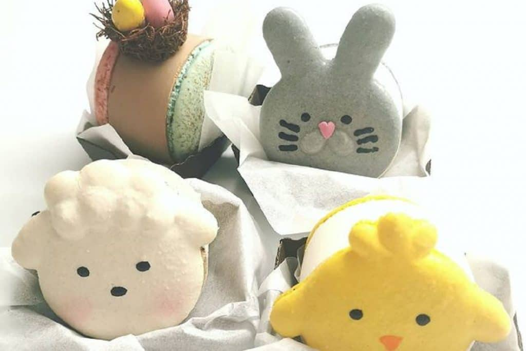 Easter macaron ice cream sandwiches featuring a bunny, chick, lamb and chocolate egg nest