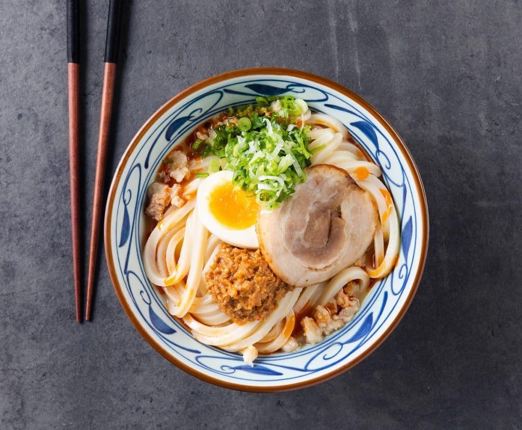 A bowl of udon noodles at Marugame Udon