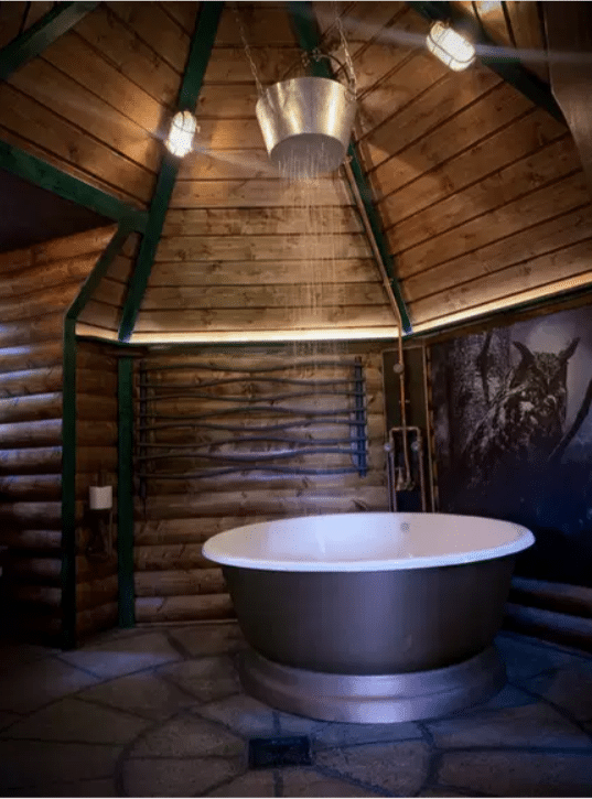 A bucket shower at Hagridd's Hideaway