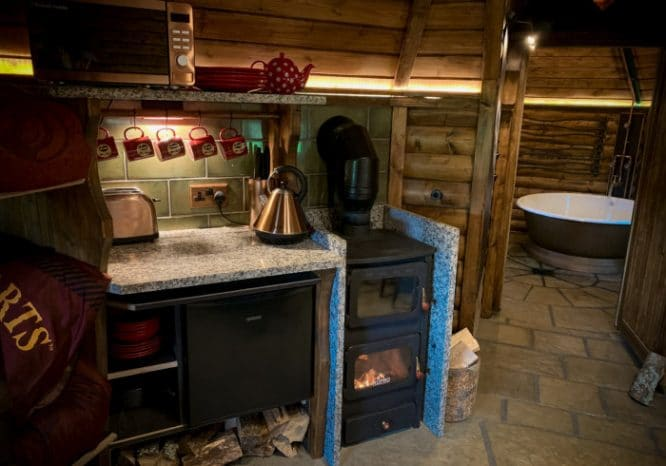 A cosy kitchen inside the Harry Potter-themed Hagridd's Hideaway