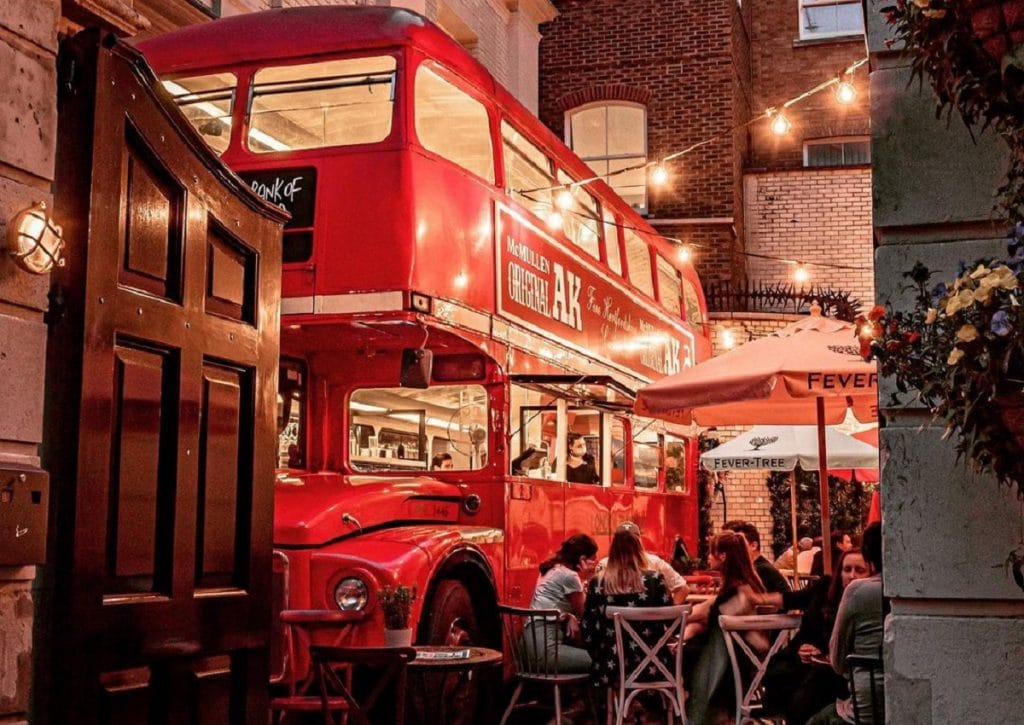 the old bank of england turned a double-decker bus into a bar
