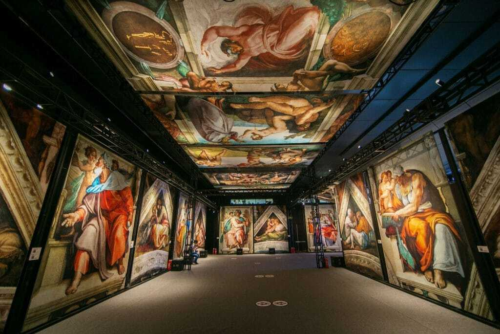 A view of the immersive Sistine Chapel exhibition.