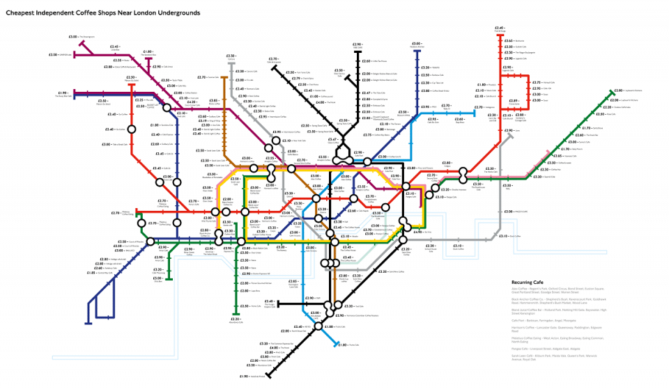 This Tube Map Shows You The Cheapest And Best Coffee Near Every Station