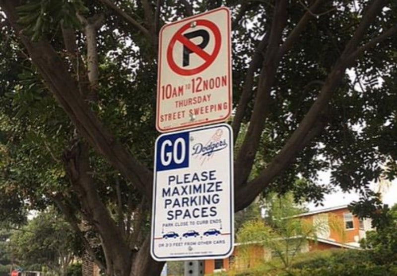 Faux Parking Signs Are Back Up In Echo Park… This Time Sporting A Dodgers Theme