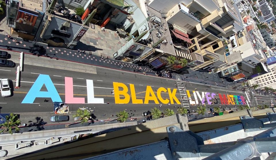 """All Black Lives Matter"" Painted Across Hollywood Boulevard"